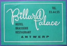 HOTEL MOTEL PENSION BILLARD ANTWERPEN BRUXELLES BELGIE BELGIUM BELGIQUE DECAL STICKER LUGGAGE LABEL ETIQUETTE AUFKLEBER - Hotel Labels