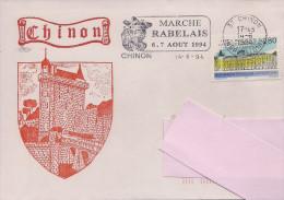 37 - Flamme De CHINON Sur Enveloppe Illustrée De CHINON, Timbre Cour De Cassation - Marcophilie (Lettres)