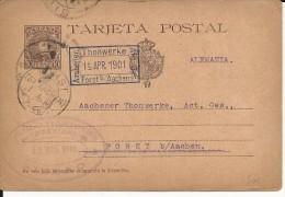 ESPAGNE - 1901 - RARE CARTE ENTIER POSTAL SANS NUMEROTATION De BILBAO Pour FORST Bei AACHEN (GERMANY)