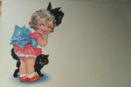Fille Girl Avec Chat Cat - Enfants