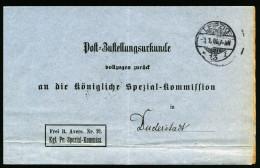A3057) DR Zustellungsurkunde Von Leipzig 3.1.1906 Mit Eindruck Frei Lt. Avers 21 - Deutschland