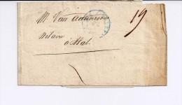 Bande D'imprimé De Bruxelles PP Vers Hal 1849  - Cachet Pour Imprimé - 1830-1849 (Belgique Indépendante)