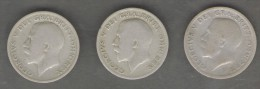 GRAN BRETAGNA SERIE 3 MONETE SIX PENCE 1921 1922 1923 - H. 6 Pence