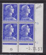 FRANCE N° 1011B 20F BLEU TYPE MULLER COIN DATE DU 5.11.1957  NEUF SANS CHARNIERE - 1950-1959