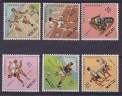1964 MACAO MACAU SPORT 6 VAL MNH 422/7 TENNIS DA TAVOLO - ATLETICA - LOTTA LIBERA - ECT.. - Macao