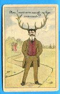 AVR97, Homme Avec Des Cornes De Cerf, Chasse, Cocu, Adultère, Cigare, Deer, Non Circulée - Humour