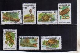 KAMPUCHEA - CAMBOGIA CAMBODIA 1988 REPTILES FAUNA ANIMALS ANIMALI RETTILI FULL SET SERIE COMPLETA USED USATA OBLITERE´ - Kampuchea