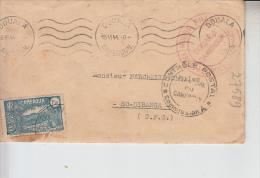 RT27.589   LETTRE CAMEROUN DOUALA.CACHETS CROIX-ROUGE CONTROLE POSTAL 1944 - Cruz Roja