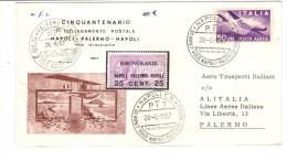 643/600 - ITALIA 28/6/67 , 50mo Idrovolante Napoli Palermo. Busta Piegata . Firma Del Comandante Al Retro - 6. 1946-.. Repubblica