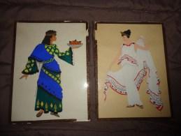 2 Dessins Peints  -femmes- (origine A Determiner)-- Sous Verre 21x29.7 Environ -peints - Oriental Art