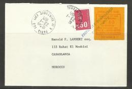 GRÈVE G.B. 1971 - EMISSION LAINÉ JERSEY PARIS : 2F40 ROUGE / JAUNE SUR LETTRE POUR CASABLANCA (MAROC)  VIA PARIS - Grève