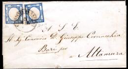 0115-Naspoli - Due Grana Prov. Nap. - Doppio Porto. - 1861-78 Vittorio Emanuele II