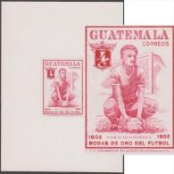 Guatemala 1955 Y&T 368. Épreuve D´atelier, 50 Ans De Football. Mario Camposeco, Joueur Mort Dans Un Accident D´avion - Soccer American Cup