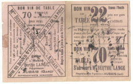 30 AUBAIS BUVARD PUBLICITE VIN VIGNOBLE BERTHE LANGE METIER GARD - Collections, Lots & Series