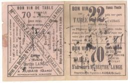 30 AUBAIS BUVARD PUBLICITE VIN VIGNOBLE BERTHE LANGE METIER GARD - Carte Assorbenti