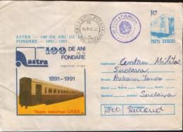 Romania - Stationery Cover 1991 Used - Trains - Plant ASTRA 100 Anniversary -  Suburban Wagon, Russia - Treni