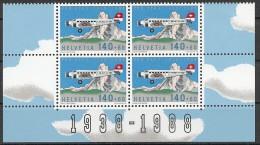 Suisse Schweiz Svizerra Switzerland Poste Aérienne 1988 Zumstein** No 49 (bloc De 4) - Ongebruikt
