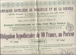 C. HOTELIERE DE MARSEILLE ET DE LA RIVIERA . 80FR - Tourisme