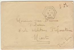 ESC FM Hexagonal Marsillargues-Attuech Gard -> Ecole Militaire Niort 1940 - Marcophilie (Lettres)