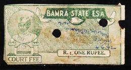 INDIAN STATE BAMRA 1 RS RARE COURT FEE FISCAL OLD STAMPS #D01 - Bamra