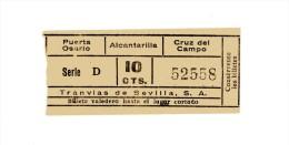 B5177 * Billete De Tranvia De Sevilla - Tickets - Entradas