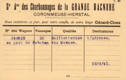 Coronmeuse-Herstal  Li�ge Herstal  Charbonnages de la Grande Bacnure  4 cartes   different.  1941