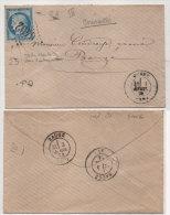 Enveloppe Adressée De CLEFS (49) GC 6402 (Indice 21)sur Yvert 60 I A BAUGE (Maine Et Loire) Trés Belles Variétés(76207) - 1871-1875 Cérès