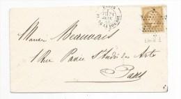 - Lettre - SEINE - PARIS - PORT LOCAL - Etoile N°1 S/TP Type Napoléon III Dentelé N°21 + Càd T.17  - 1865 - 1862 Napoleon III