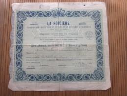 1939 ACTION Certificat Nominatif D'inscription  -La FONCIERE Cie Anonyme Assurances Contre L'incendie Capital 15 000 Fr. - Banque & Assurance