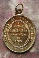 """Pendentif Médaille Religieuse """"Souvenir De Confirmation / Monseigneur Langenieux, Archévêque De Reims"""" - Religious Medal - Religion & Esotericism"""