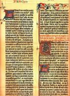 Ca 1890 GUTENBERG BIBLE SHEET 1455 FACSIMILE Antique Chromolithograph Print - Old Paper