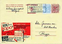 "Belgien 1974 - 2 Fr Ganzsache + 50 C Zusatz Auf Werbepostkarte ""D.I.A.N.E."" - Werbung"