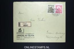 Deutsches Reich Böhmen & Mahren Registered Cover Prag To Essen 1941 Mixed Stamps