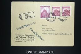 Deutsches Reich Böhmen & Mahren Registered Cover Prag To Essen 1943 Mixed Stamps