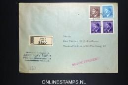 Deutsches Reich Böhmen & Mahren Registered Cover Prag To Essen 1942 Mixed Stamps