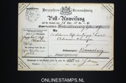 Deutsches Braunschweig: Post-Anweisung 1867, Money Order, Very Nice Cancels. - Brunswick