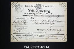 Deutsches Braunschweig: Post-Anweisung 1867, Money Order, Very Nice Cancels.