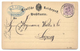 GS Deutsche Reichspost 1881 Von Sonderhausen Nach Leipzig - Deutschland