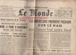 Journal Ancien - LE MONDE - 19 Septembre 1950 - Réarmement D'Allemagne - Guerre De Corée - Indochine - Nations Unis - Newspapers