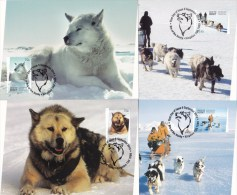 Australian Antarctic 2014 Era Of The Husky Set Of 4 Maximum Cards - FDC