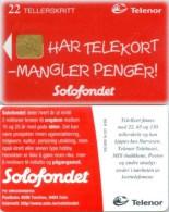 Telefonkarte Norwegen - Werbung - Solofondet  - N-121  6/98 - Norwegen
