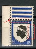 N° 756**_Bleu Déplacé à Gauche Et En Bas_angle De Feuille_plus Petit=15.5 Perfos - Variétés Et Curiosités