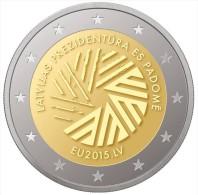 """LATVIA / LETONIA   2015  2.015  2€ Bimetalic  """"Presidencia Letona Del Consejo De La UE""""  UNCIRCULATED T-DL-11.264 - Letonia"""