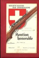 FTIR-10 MILITARIA Société Suisse Carabiniers,Tir Obligatoire 1939.Mention Honorable 113 Points. Voir Dos.Carabine. - Vieux Papiers