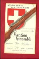 FTIR-12 MILITARIA Société Suisse Carabiniers,Tir Sections 1940.Mention Honorable 75 Points. Voir Dos.Carabine. - Vieux Papiers