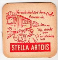 Belgique Stella Artois Dim 9.5 X 9.5 Variante Verontschuldigt - Sous-bocks