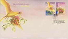Christmas Island FDC Mi 685-686 - Christmas - Golden Bosunbird Soaring - Golden Bosunbird - Gifts  - 2010 - Christmaseiland