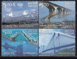 India MNH 2007,  Se-tenent Block, Landmark Bridges, Bridge, Arcitecture - India