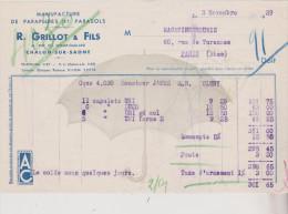 (SAONE ET LOIRE )CHALON-SUR-SAONE ;fabrique De Parapluies , Parasols , R GRILLOT & Fils - Petits Métiers