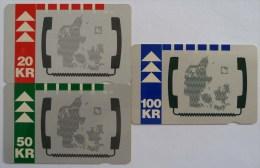 DENMARK - Map Set - 1992 - 20, 50 & 100 Units - VF Used - Denmark